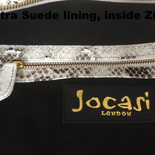 Large Semara Python Bag in Natural white with detachable cross body Leather Strap