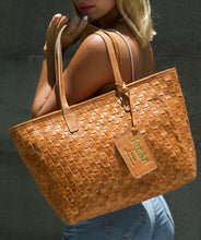 Load image into Gallery viewer, Large Jocasi Leather Tan Woven Tote Bag