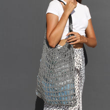 Load image into Gallery viewer, Jocasi Yoga Bag in hand knitted crochet with leather handle.