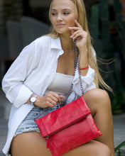 Load image into Gallery viewer, Crimson Red Full Python Classic Clutch with detachable chain..