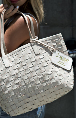 Whitewash Leather Hand-Woven Tote Shopper