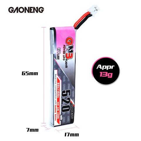 GNB 520MAH 1S 3.8V 80C PH2.0 LiPo Battery