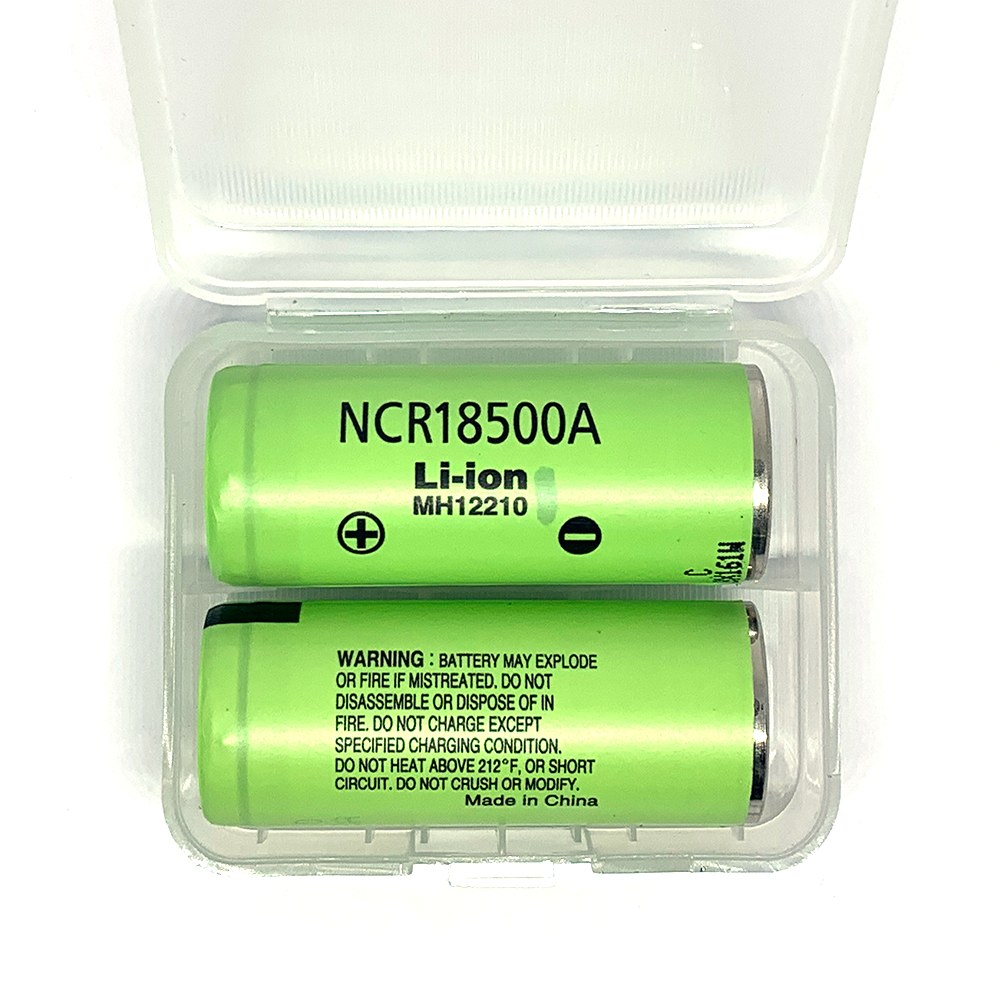 2 x Panasonic NCR18500A 2040mAh 18500 Li-Ion batteries
