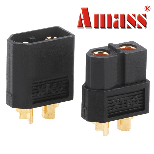 Amass XT60 Bullet Connector Plugs For RC Battery Motor Black Pair