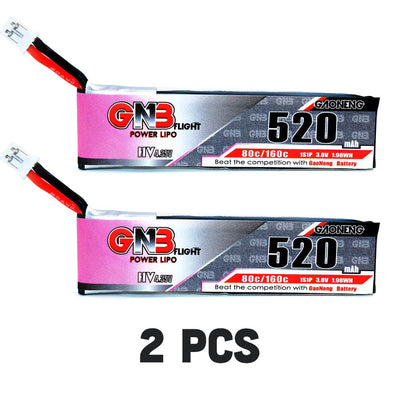 2PCS GNB 520MAH 1S 3.8V 80C PH2.0 LiPo Battery