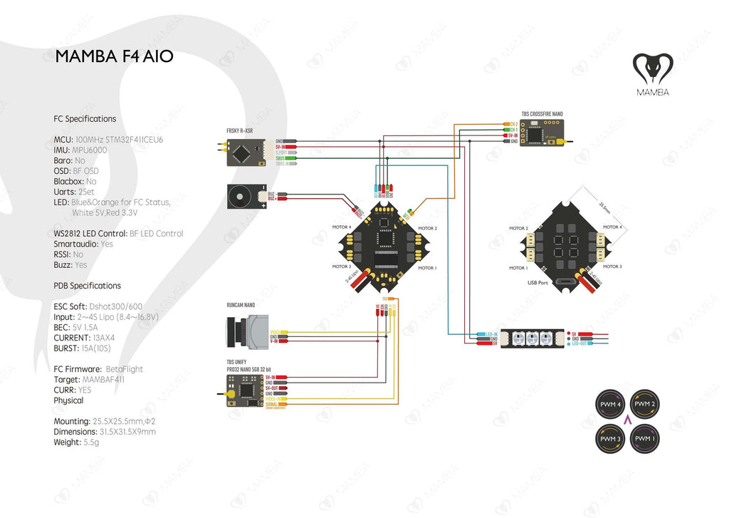 Mamba F411AIO Circuit Diagram