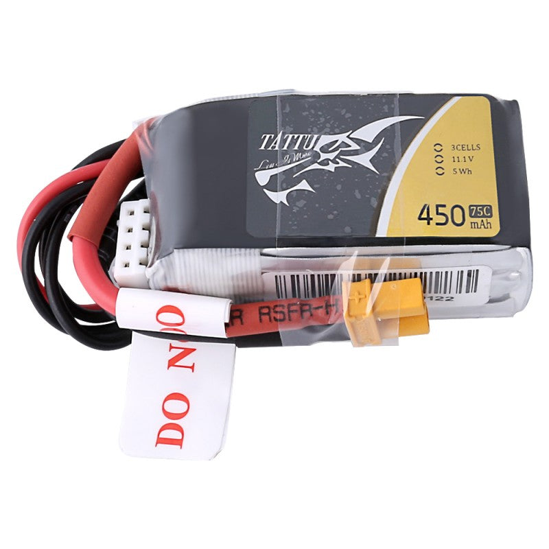 Tattu 3S 450mAh 75C 11.1V Lipo Battery Pack with XT30 Plug