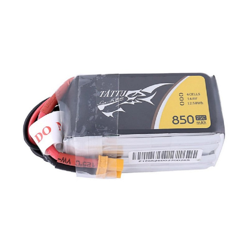 Tattu 4S 850mAh 75C 14.8V Lipo Battery Pack with XT30 plug