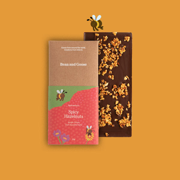 Bold and Spicy Hazelnut Dark Single Origin Chocolate Bar