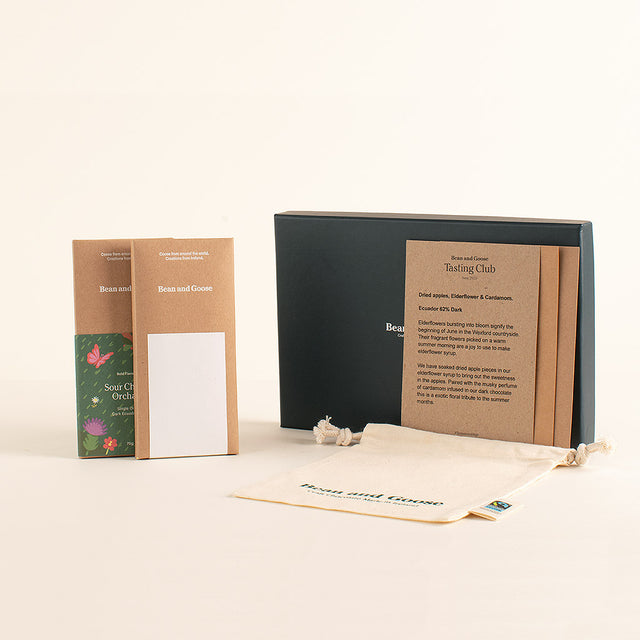 Tasting Club 1st Delivery Box with 2 Bars, Gift Box, Cotton Bag & Welcome Note