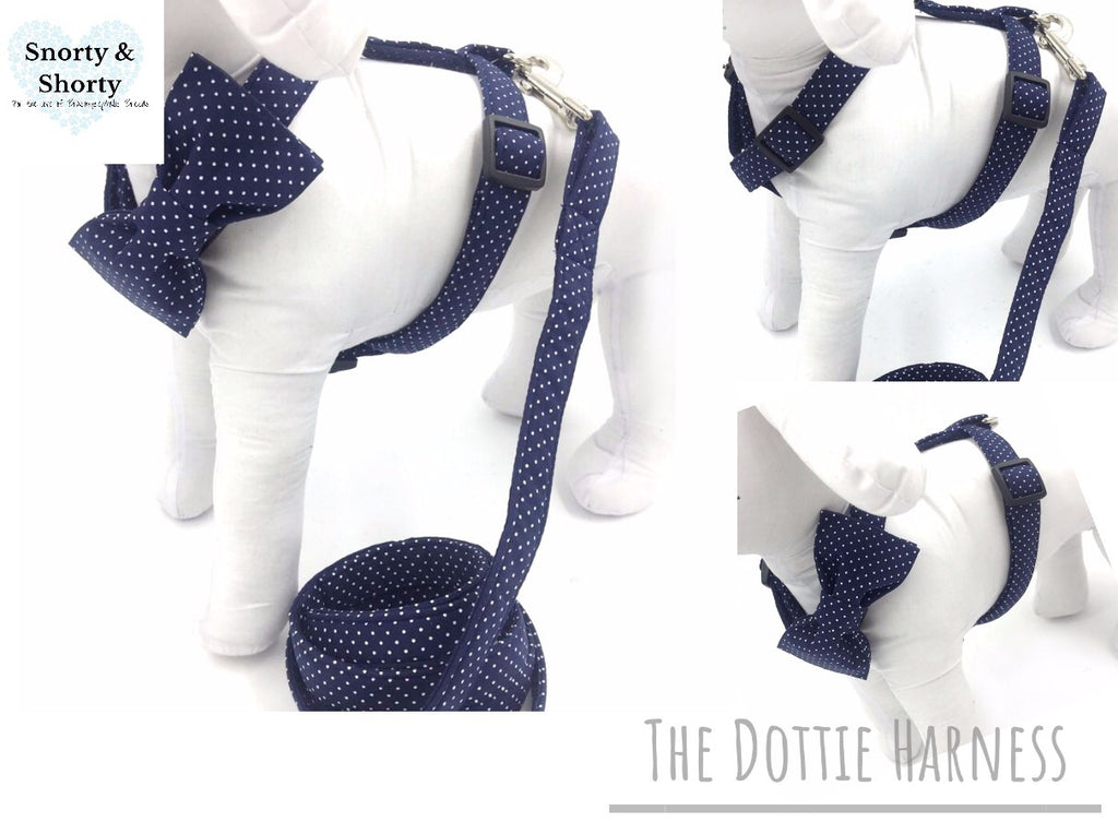 pet harness, dog harness, quality pet supplies, pets, dogs, pugs, frenchie harness, dottie harness, polka dot harness, dog collars, bow harness, bow collars, unique collars, luxury pet wear