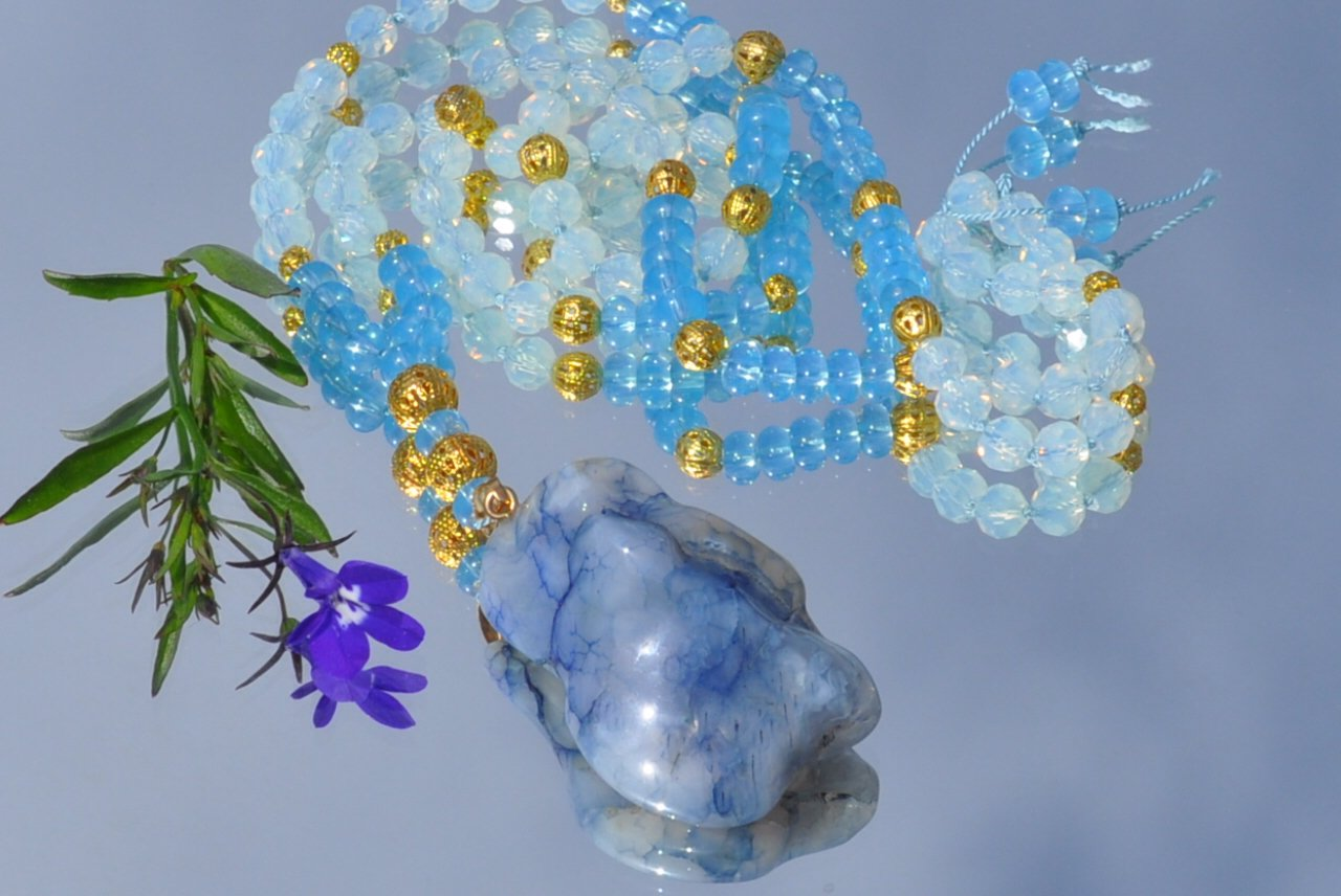 "Mala/halsband ""Goldenblue"""