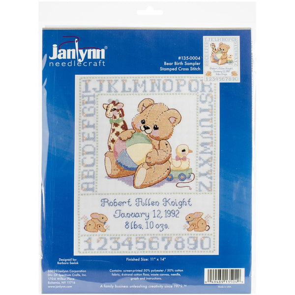 Janlynn Stamped Birth Sampler Cross Stitch Kit 11X14 Bear