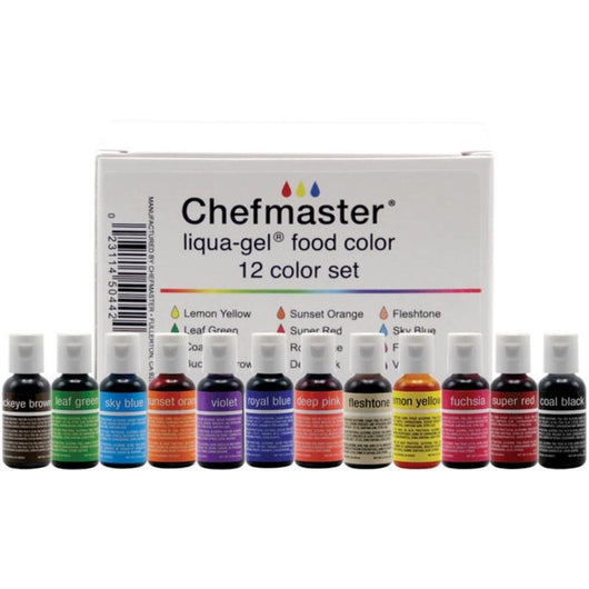 Chefmaster Liqua-Gel Color Kit 12/Pkg .7oz - aplusstorenz