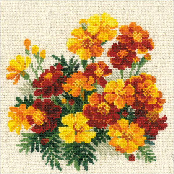 RIOLIS Counted Cross Stitch Kit 7.75X7.75 Marigolds (14 Count)