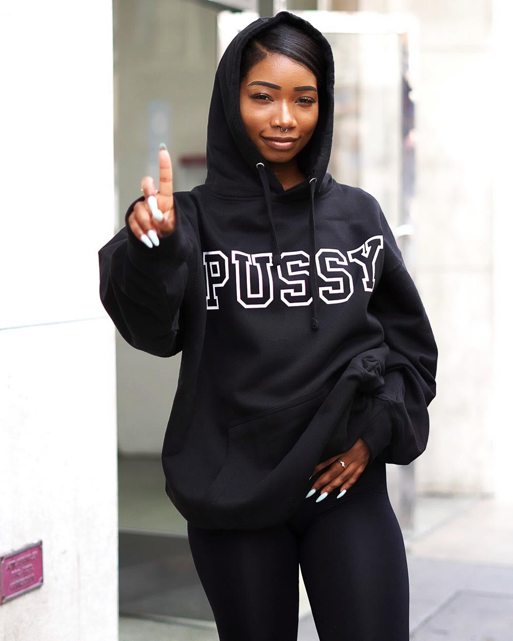 PUSSY hoodie, blk/wht