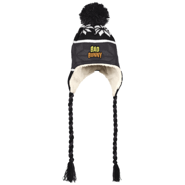Bad Bunny Flame Beanie with Ear Flaps