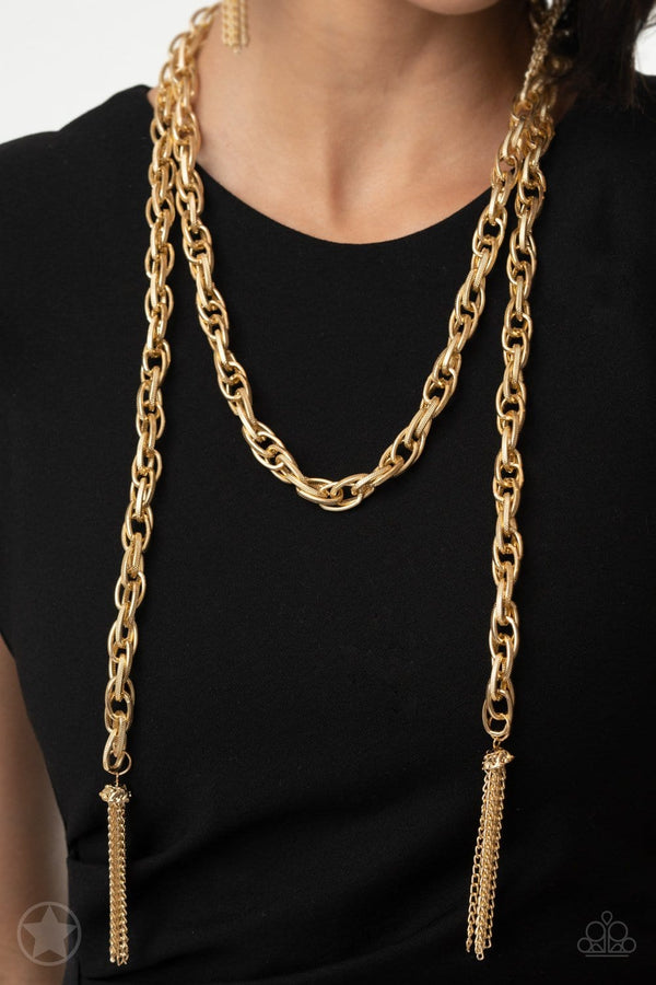 Jazzi Jewelz Boutique-Scarfed for Attention-Gold Necklace and Earring Set