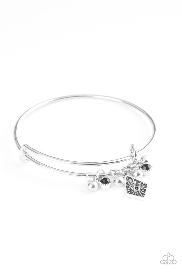 Jazzi Jewelz Boutique-Treasure Charms-Black Rhinestone Silver Bangle Bracelet