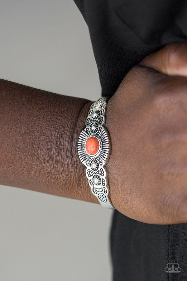 Paparazzi Accessories-Wide Open Mesas - Orange Stone Silver Cuff Bracelet