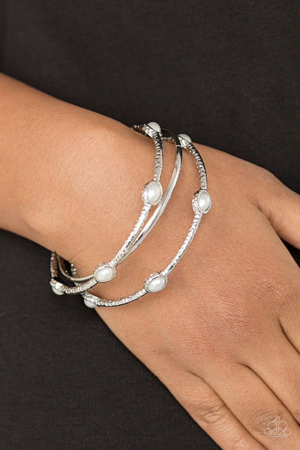 Jazzi Jewelz Boutique-Bangle Belle-White Pearl Bangles