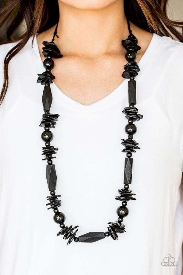 Jazzi Jewelz Boutique-Cozumel Coast-Black Wood Necklace and Earring Set