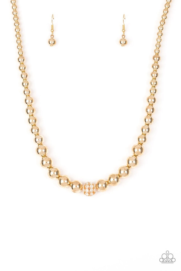 Jazzi Jewelz Boutique-High Stakes Fame-Gold Necklace and Earring Set
