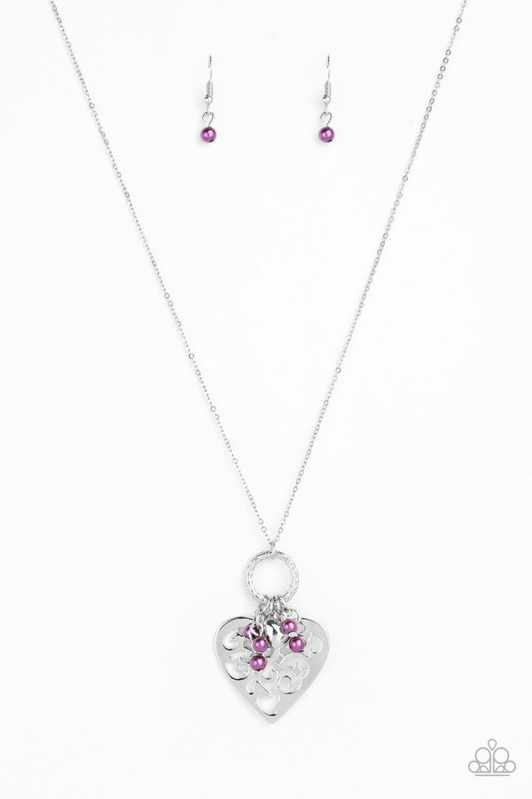 Jazzi Jewelz Boutique-Romeo Romance-Purple Pearl Silver Chain Necklace and Earring Set