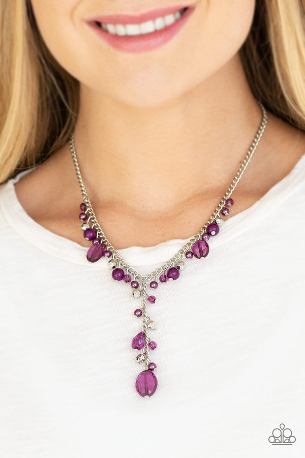 Jazzi Jewelz Boutique-Crystal Couture-Purple Crystal Bead Necklace and Earring Set
