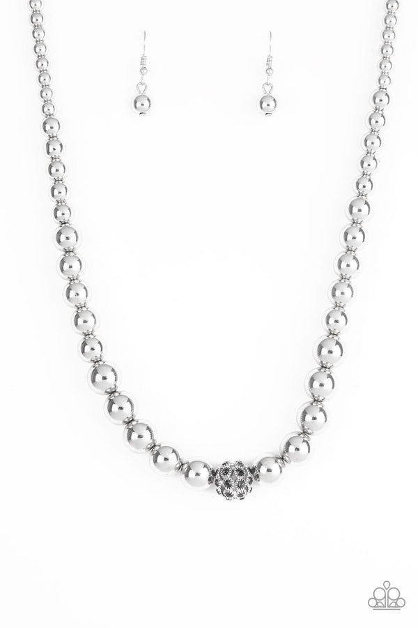 Jazzi Jewelz Boutique-High Stakes FAME-Silver Beaded Necklace and Earring Set