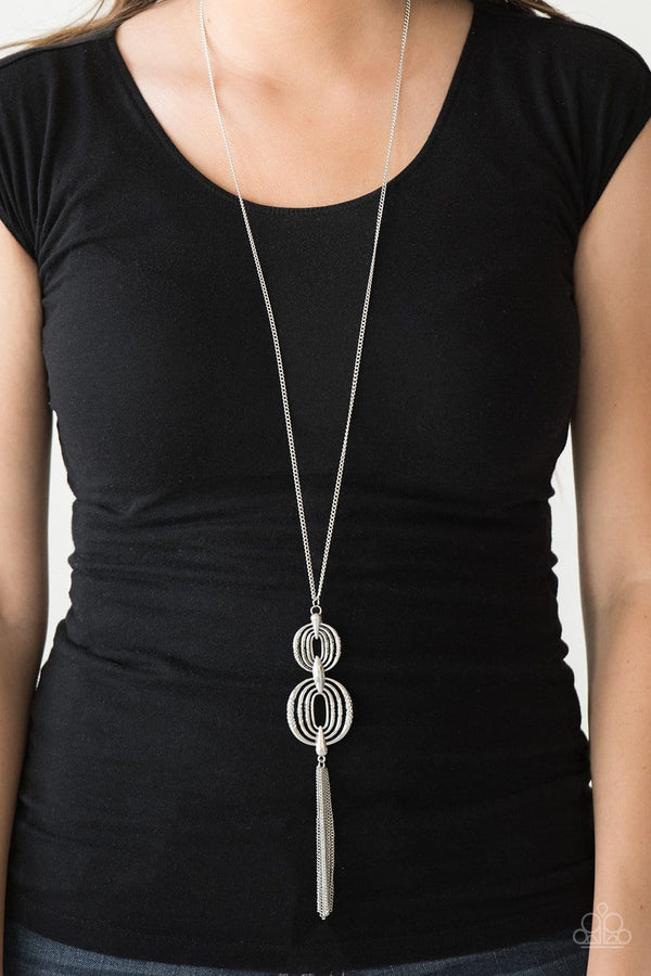 Jazzi Jewelz Boutique-Timelessly Tasseled-Silver Pendant Necklace and Earring Set