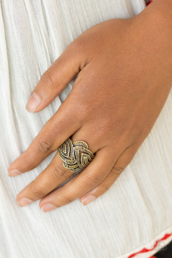 Jazzi Jewelz Boutique-Fire and Ice-Brass Stretch Band Ring