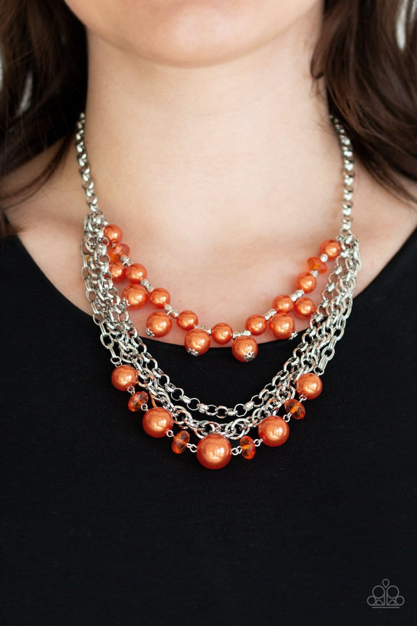 Jazzi Jewelz Boutique-Rockin Rockette-Orange Pearl Necklace and Earring Set