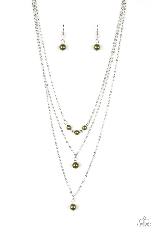 Jazzi Jewelz Boutique-High Heels and Hustle-Green Pearl Necklace and Earring Set