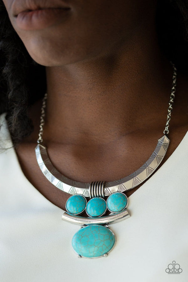 Jazzi Jewelz Boutique-Commander In Chiefette-Turquoise Stone Silver Chain Necklace and Earring Set