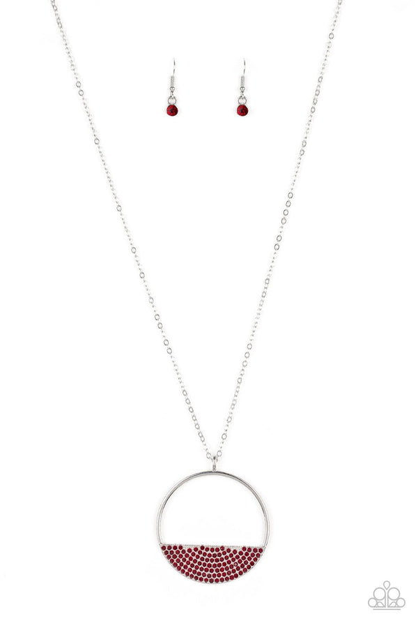 Jazzi Jewelz Boutique-Bet Your Bottom Dollar-Red Rhinestone Silver Chain Necklace and Earring Set