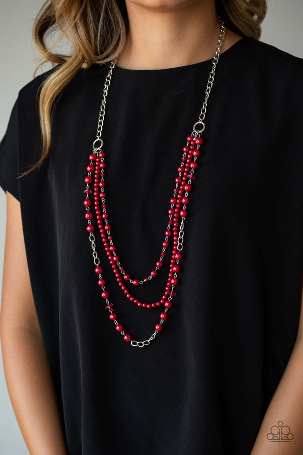 Jazzi Jewelz Boutique-New York City Chic-Red Necklace and Earring Set