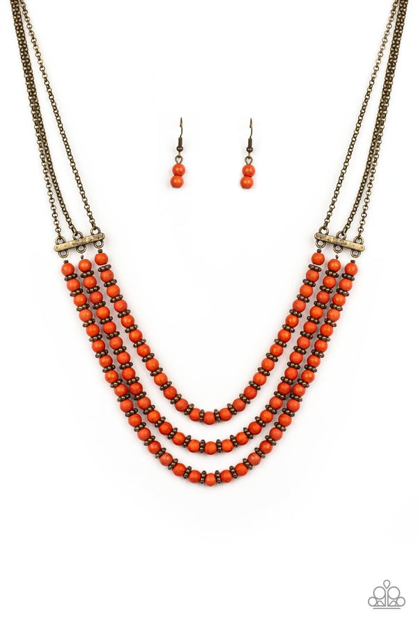 Jazzi Jewelz Boutique-Terra Trails-Orange Stone Brass Chain Necklace and Earring Set