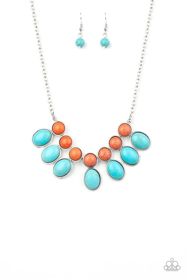 Jazzi Jewlz Boutique-Environmental Impact-Turquoise and Orange Stone Bead Silver Chain Necklace and Earring Set