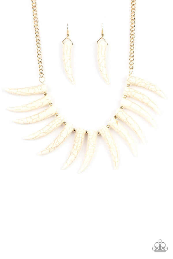 Jazzi Jewelz Boutique-Tusk Tundra-White Tusk Gold Chain Necklace and Earring Set