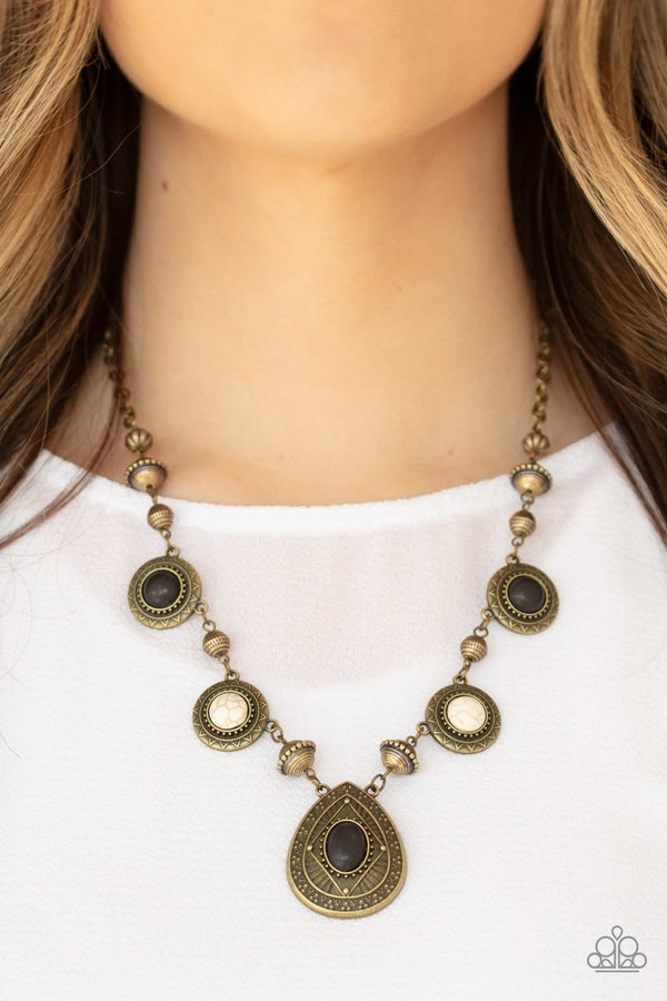 Jazzi Jewelz Boutique-Mayan Magic-Brass Necklace and Earring Set