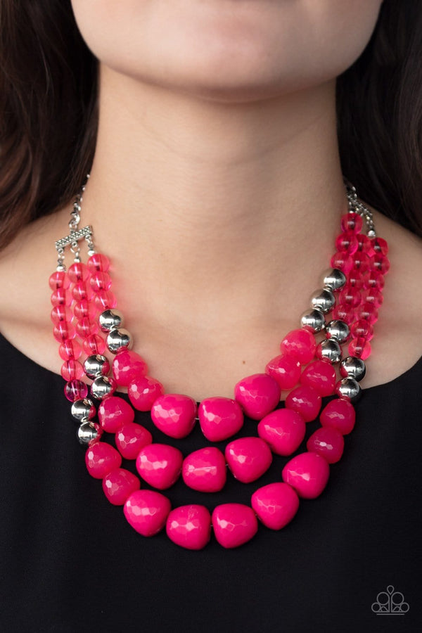 Jazzi Jewelz Boutique-Forbidden Fruit-Pink Beaded Necklace and Earring Set