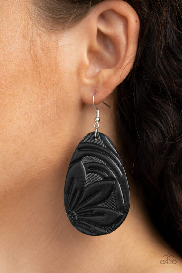 Jazzi Jewelz Boutique-Garden Therapy-Black Leather Teardrop Earrings