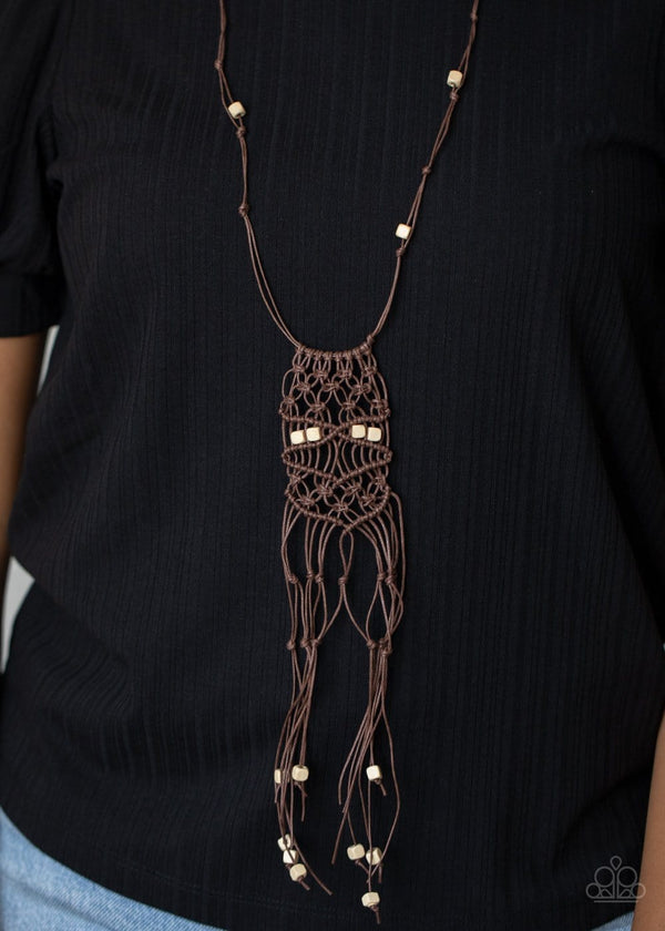Jazzi Jewelz Boutique-Macrame Majesty-Brown Necklace and Earring Set