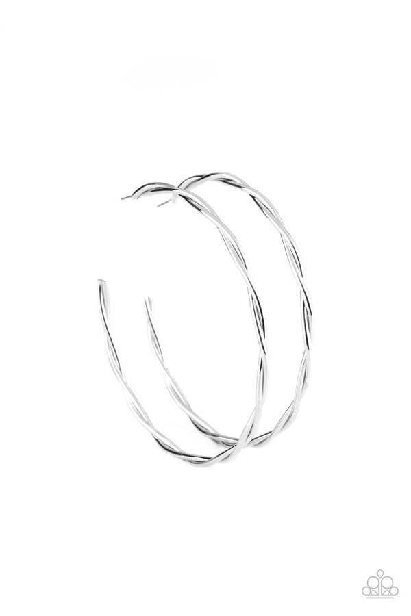 Jazzi Jewelz Boutique-Out Of Control Curves-Silver Hoop Earrings