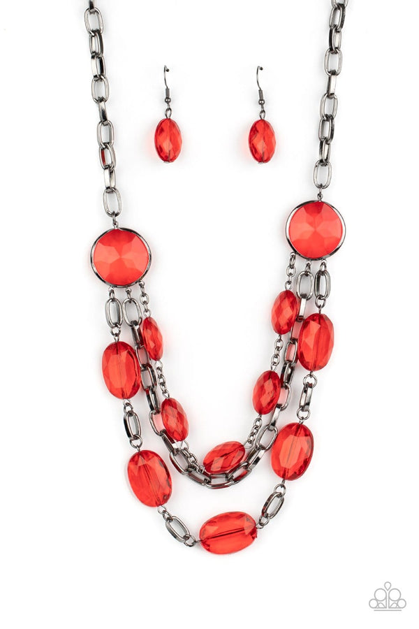 Jazzi Jewelz Boutique-I Need a GLOW-cation-Red Gem Necklace and Earring Set