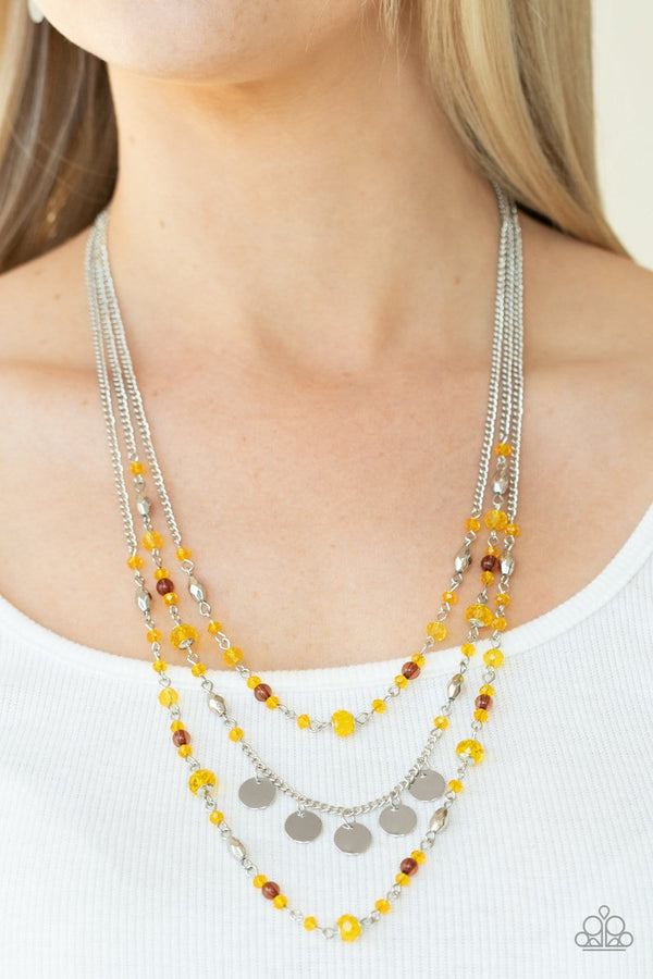 Jazzi Jewelz Boutique-Step Out Of My Aura-Yellow Crystal Bead Necklace