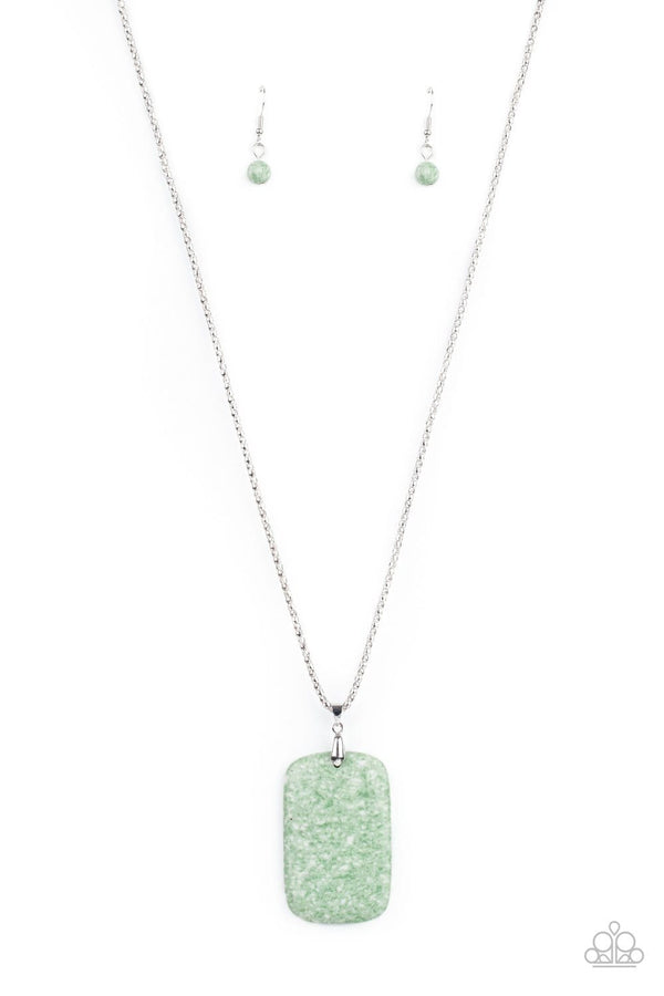 Paparazzi Accessories-Fundamentally Funky - Green Pendant Necklace and Earring Set