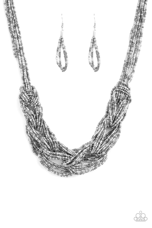 Jazzi Jewelz Boutique-City Catwalk-Silver Seed Bead Necklace and Earring Set