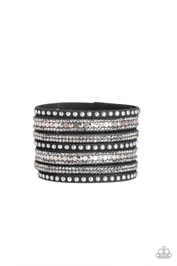 Jazzi Jewelz Boutique-All Hustle & Hairspray-Black Wrap Snap Rhinestone Bracelet